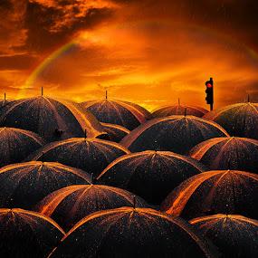 Shine bright like a diamond by Caras Ionut - Digital Art Things ( raimbow, orange, tutorials, pole, bright, umbrella, diamond, light, rain, photoshop )