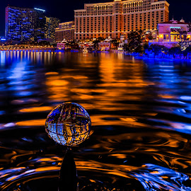 by David Swanson - City,  Street & Park  Night ( water, water reflections, bellagio, fluid, waterscape, droplet, colorful, drop, night reflections )
