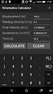 Kinematics Calculator - screenshot
