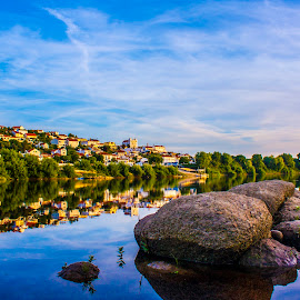 Arripiado refletion on the river by Paulo Lopes - Landscapes Travel ( tejo, reflection, village, rock, portugal, river )