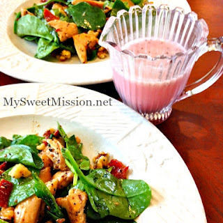 Chicken Bacon Spinach Salad with Poppy Seed Dressing