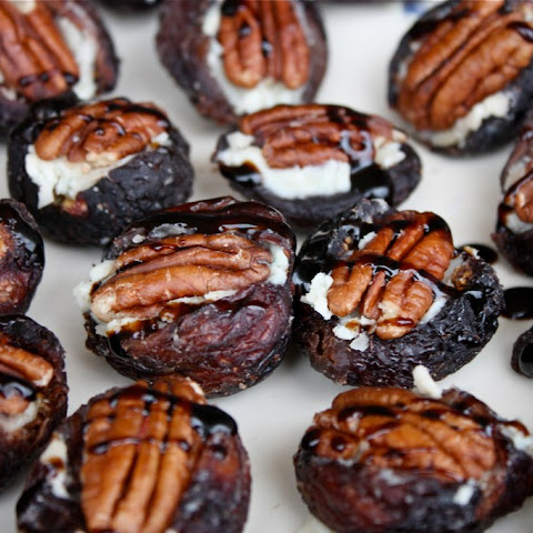 Cheese Stuffed Figs with Toasted Pecans and Balsamic Drizzle