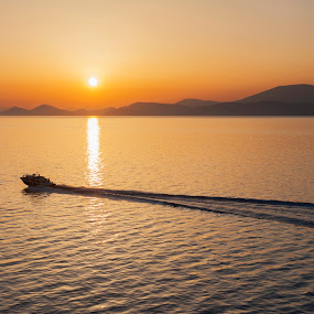Ermioni, Greece by Oxana Chorna - Landscapes Sunsets & Sunrises ( mediterranean sea, sunset, greece, sea, ermioni, boat )
