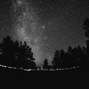 The Truth is Out There by Jonathan Stolarski - Landscapes Starscapes ( milkyway, az, fisheye, black and white, stars, arizona, bw,  )
