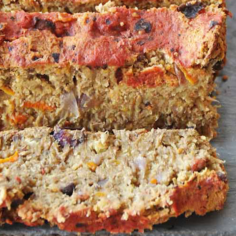Lentil Loaf With Carrots, Onions, and Portobello Mushrooms [Vegan]
