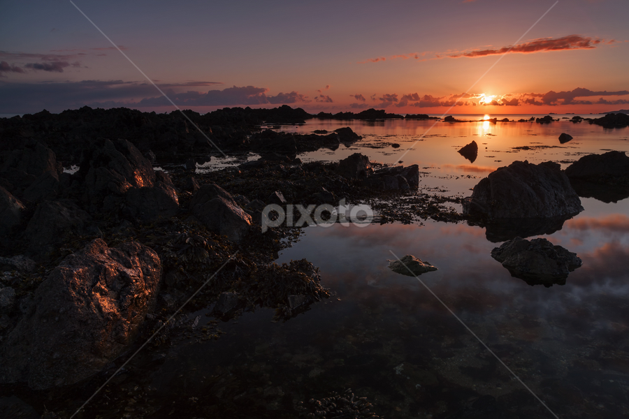 On the Rocks for Sunset by Barney Delaney - Landscapes Waterscapes ( seascapes, sunset, landscape photography, ocean, coast )