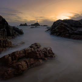 Corbiere Lighthouse - Jersey Channel Islands by James - Landscapes Sunsets & Sunrises ( corbiere lighthouse jersey, sunset, jersey, lighthouse, long exposure )