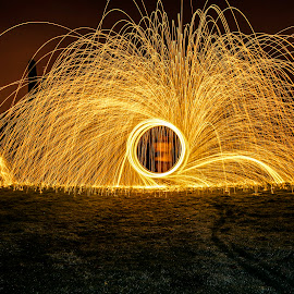 steelwool at glasgow necropolis by Grant Gillon - Abstract Light Painting ( necropolis, graves, glasgow, lightpainting, steelwool, headstones, steel, painting, light, wool, halloween )