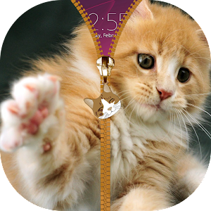 Kitten Zipper Lock Screen
