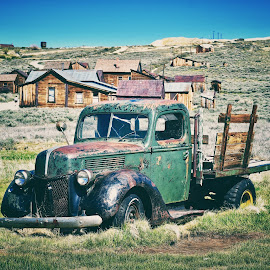 Abandoned car in Ghost town  by Nelida Dot - Transportation Automobiles ( hill, car, old, ghost town, old town, abandoned,  )