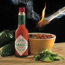 Spoonfull by Earl Wyant - Food & Drink Ingredients ( peppers, hot sauce, green, food, tabasco, spoon, salsa, smoke, fire )