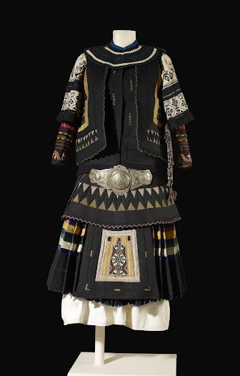 <b>Sarakatsani costume</b> Alexandroupolis, northern Greece Early 1900s  This many-layered festive costume was made from locally-spun wool and linen, as seen in the photograph on the previous page.