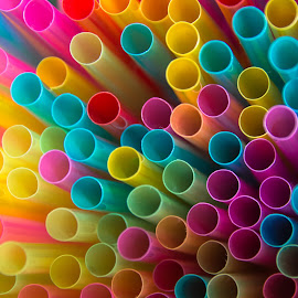 Colorful Straws by Tracey Dolan - Artistic Objects Cups, Plates & Utensils