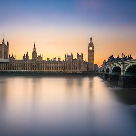 Big Ben by Karl Erik Vasslag - Landscapes Travel ( parliament, england, uk, iconic, london, sunset, parlament, westminster bridge, westminster, travel, bridge, big ben, landscape, river thames )