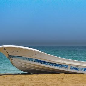 Blue Bay by Danette de Klerk - Transportation Boats ( water, blue, sea, canoe, ocean, boat, ocean view )