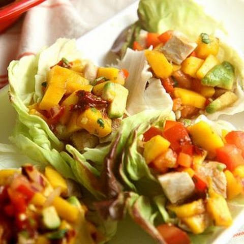 Chicken Lettuce Wraps with Avocado Mango Salsa