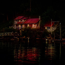 Descending Darkness by Garry Dosa - City,  Street & Park  Night ( water, home, red, waterscape, outdoors, summer, night, house, boat, landscape, darkness, evening )