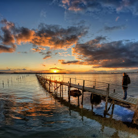 by Pawel Tomaszewicz - Landscapes Waterscapes ( water, clouds, uk, hdr, harbour, jetty, sun, obserwator, dri, england, poole, girl, sky, chmury, sunset, pier, sunrise, molo, dorset )