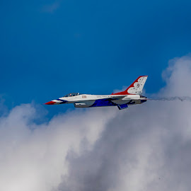 US Air Force Thunderbird by Debbie Quick - Transportation Airplanes ( plane, sky, thunderbird, flight, debbie quick, newburgh, air force, debs creative images, new york, transportation, air show, flying, hudson valley )