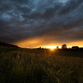 Stormy End of Summer's Day by Franz Engels - Landscapes Sunsets & Sunrises ( stormy, sunset, moody, landscape, sun star )
