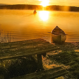 Foggy sunrise  by Bryan Gruber - Landscapes Waterscapes ( canoeing, lake, sunrise )