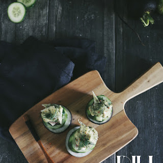 "Feed Your Creativity — Cucumber Tomatillo ""Ceviche"" Cups and Avocado Havarti Foam"