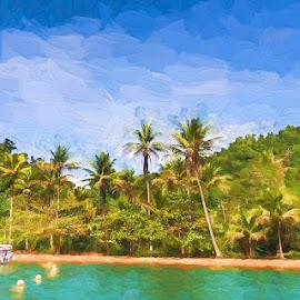 Green Island by Pravine Chester - Digital Art Places ( digital manipulation, digital art, digital painting, places, landscape )