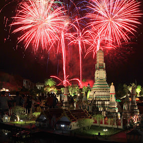 Lego Wat Arun Fireworks by ChengYang Kng - City,  Street & Park  Amusement Parks ( amazing, amazing · firework · legoland · lego countdown, fireworks )