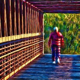 Afternoon Stroll by Allen Crenshaw - Digital Art Places ( stroll, afternoon, sunset, digital art, lines, bridge, walk, design, photography )