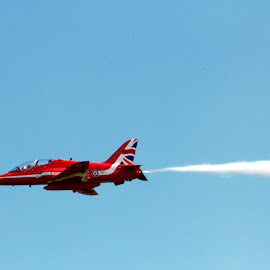 Red Arrow. by Katie Fleming - Transportation Airplanes ( scotland, red arrows, arrows, sky, red, cloudes, tricks, blue, day out, jets, planes, closeup )