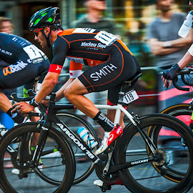 Racing Neck to Neck by Garry Dosa - Sports & Fitness Cycling ( bicycles, athletes, person, speed, cycling, racing, wheels, action, summer, men, tour de white rock, people, colours,  )