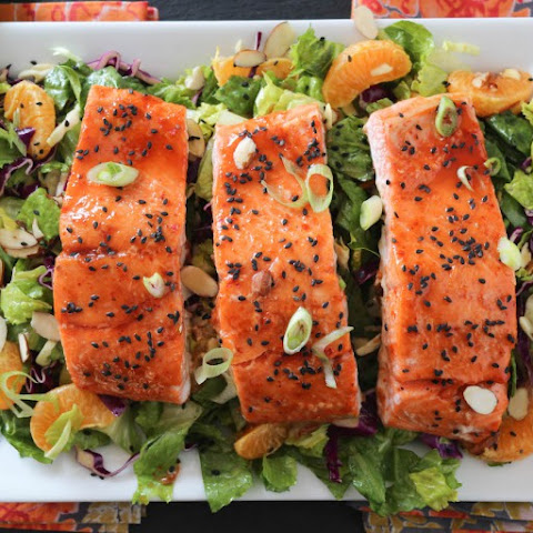 Spicy Candied Salmon Salad with Ginger Honey Dressing