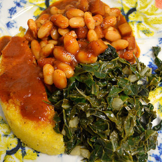 Vegan Apple Baked Beans With Crispy Polenta