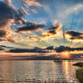 Beautiful Rays by Shutter Bay Photography - Landscapes Sunsets & Sunrises ( water, clouds, waterscape, sunsets, ray of light )