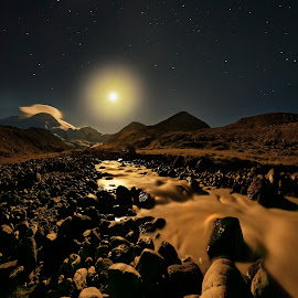 Kizilkol by Александр Агабабаев - Landscapes Mountains & Hills ( moon, mountains, long exposure, night, river )