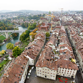 historical district of Bern, Switzerland by Amit Aggarwal - City,  Street & Park  Historic Districts ( old, view from the top, europe, munster, bern, switzerland, cathedral, bridge, historical, town, river )