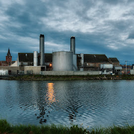 The old factory by Marina Papas - Landscapes Travel ( travel photogrpahy, buildings, factory, landscapes, evening sky )