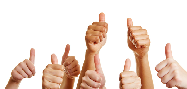 many hands showing thumbs up