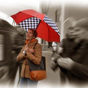 Umbrella by Zenonas Meškauskas - People Portraits of Women ( sepia, red, woman, umbrella, lady )