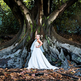 Enchanted bride by Kelly Gordon - Wedding Bride ( wedding photography, wedding, bride, tree trunk )
