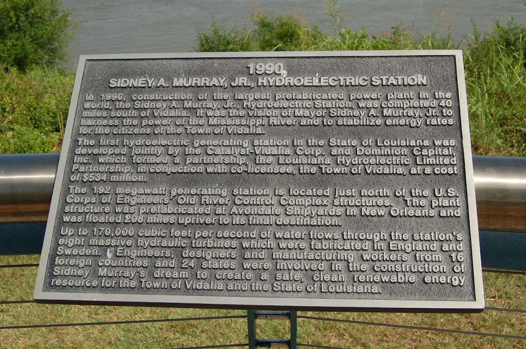 In 1990, construction of the largest prefabricated power plant in the world, the Sidney A. Murray, Jr., Hydroelectric Station, was completed 40 miles south of Vidalia. It was the vision of Mayor ...