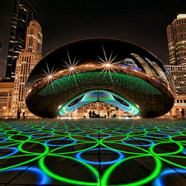 Groovy Bean by Critter Rettirc - City,  Street & Park  City Parks ( light projection, sculpture, luftwerk, bean, millennium park, night, chicago, cityscape )