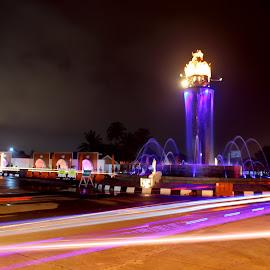 Light Full by Hindra Komara - City,  Street & Park  Street Scenes ( water, park, street scene, landscape, photography, nightscape, city, market, color, landscape photography, night, monument, slow speed, light, lif )