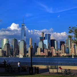 by Judy Florio - City,  Street & Park  Skylines ( water, clouds, skyline, sky, park, bay, manhattan, new york, cityscape )