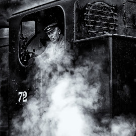 steam by Kevin Towler - Transportation Trains ( person, single, black and white, steam train, vehicle, white, train, transportation, black, steam )