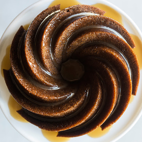 Five-Spice Cider Bundt Cake with Smoked Salted Caramel Sauce