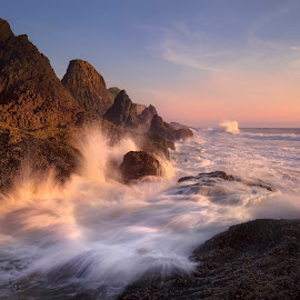 The Dual-Sidedness of Animosity by David Hellard - Landscapes Waterscapes ( shore, water, sunset, waves, wave, sea, ocean, beach, rocks )
