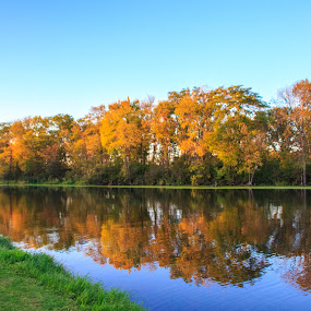 Reflections of the season by Diane Ebert - Landscapes Waterscapes ( #candidsaremypassion, #fallfoliage, #waterscapes,  )