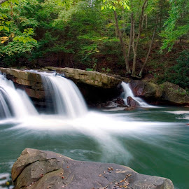 Three Aquarian Sisters on Deckers Creek by Gene Walls - Landscapes Forests ( boulders, stream, west virginia, waterfall, forest, spillways, cascade, fall, falls, creek, summer, trees, deckers creek, white water )