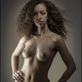 Fierce by Peter DuChene - Nudes & Boudoir Artistic Nude ( sepia, nude, beauty, skin, sexy, curly, female, naked, woman, peoud, fierce, breasts, hair )